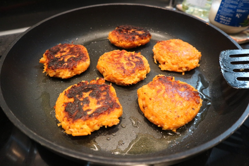 Carrot Fritters cooking